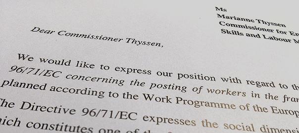 List ministrów do Marianne Thyssen